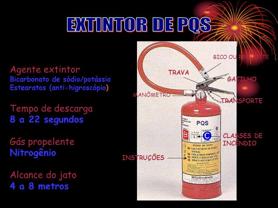 EXTINTOR DE PQS Agente extintor Tempo de descarga 8 a 22 segundos