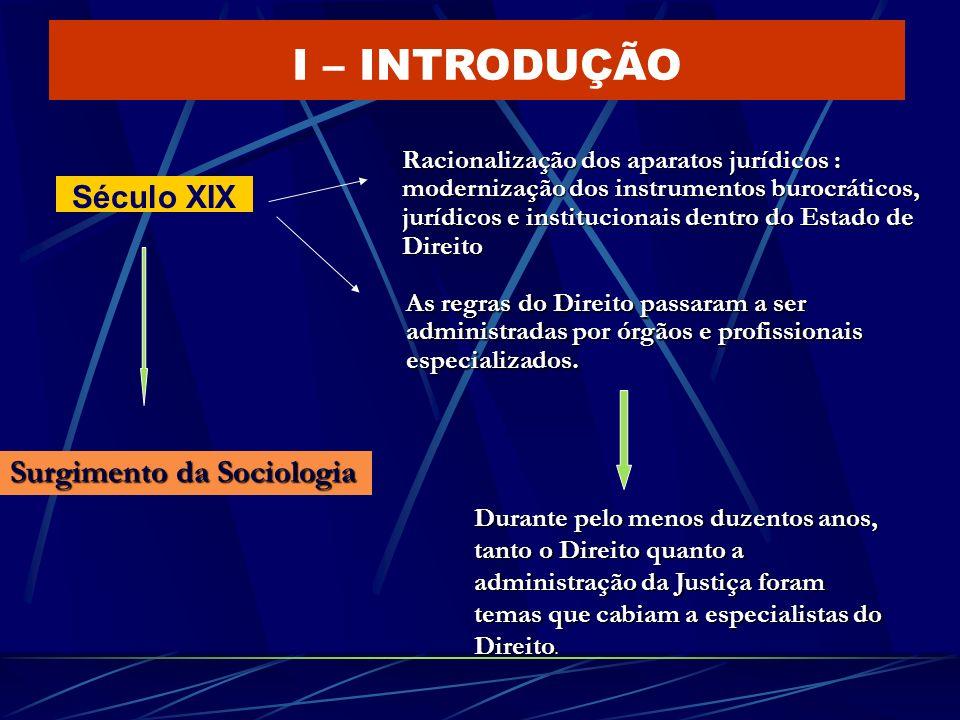 I – INTRODUÇÃO Século XIX Surgimento da Sociologia