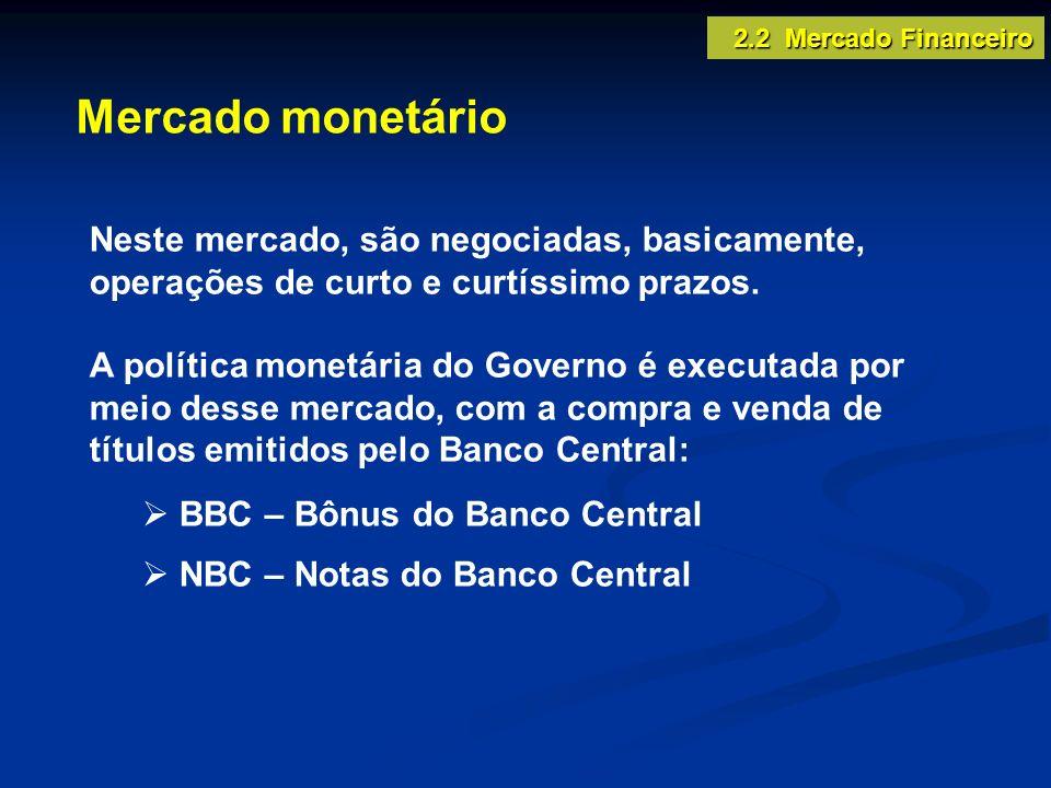 2.2 Mercado Financeiro Mercado monetário. Neste mercado, são negociadas, basicamente, operações de curto e curtíssimo prazos.