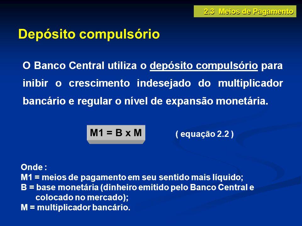 Depósito compulsório M1 = B x M ( equação 2.2 ) Onde :