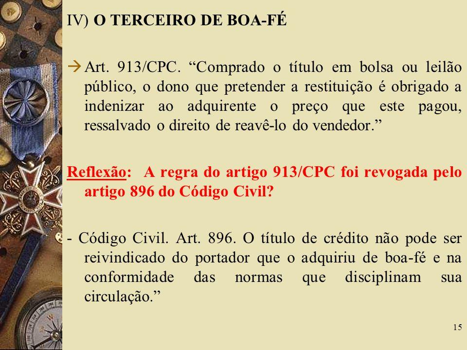 IV) O TERCEIRO DE BOA-FÉ