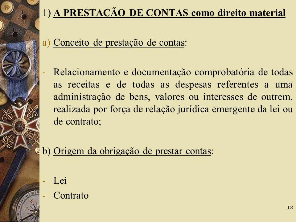 1) A PRESTAÇÃO DE CONTAS como direito material