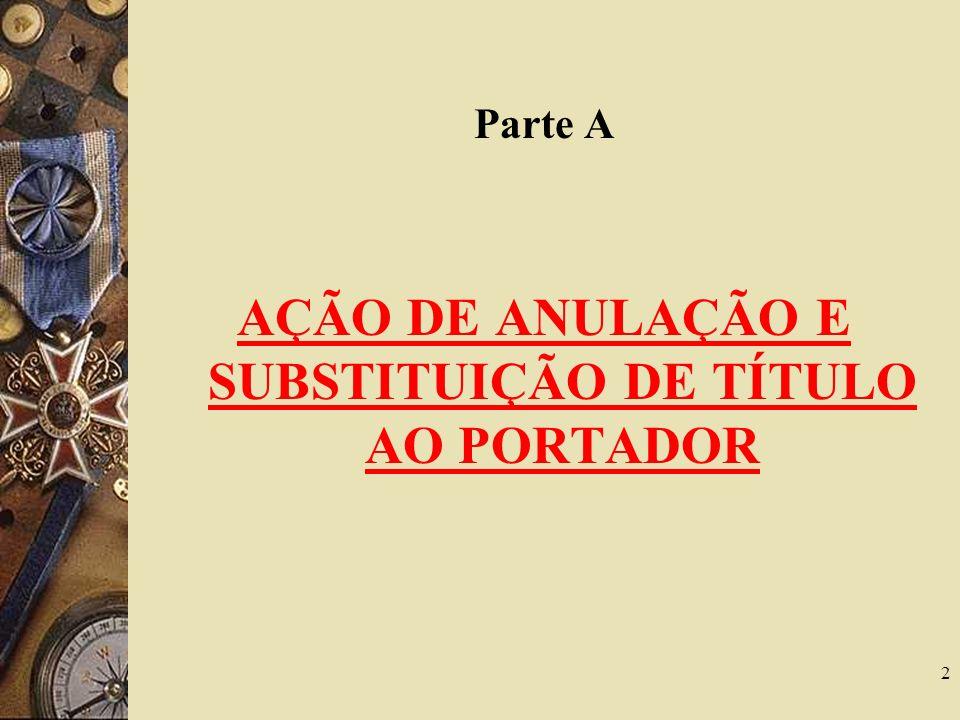 AÇÃO DE ANULAÇÃO E SUBSTITUIÇÃO DE TÍTULO AO PORTADOR