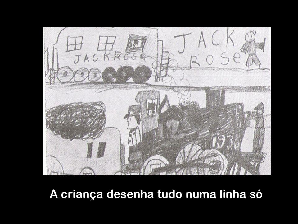 A criança desenha tudo numa linha só