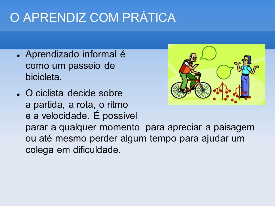 O APRENDIZ COM PRÁTICA Aprendizado informal é como um passeio de bicicleta.