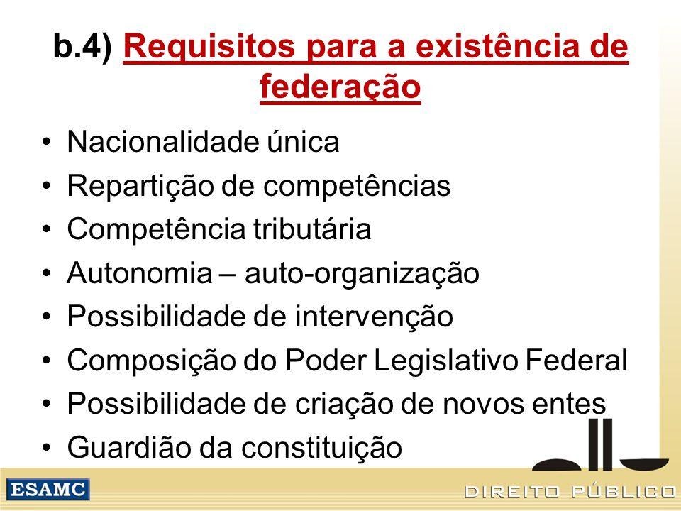 b.4) Requisitos para a existência de federação
