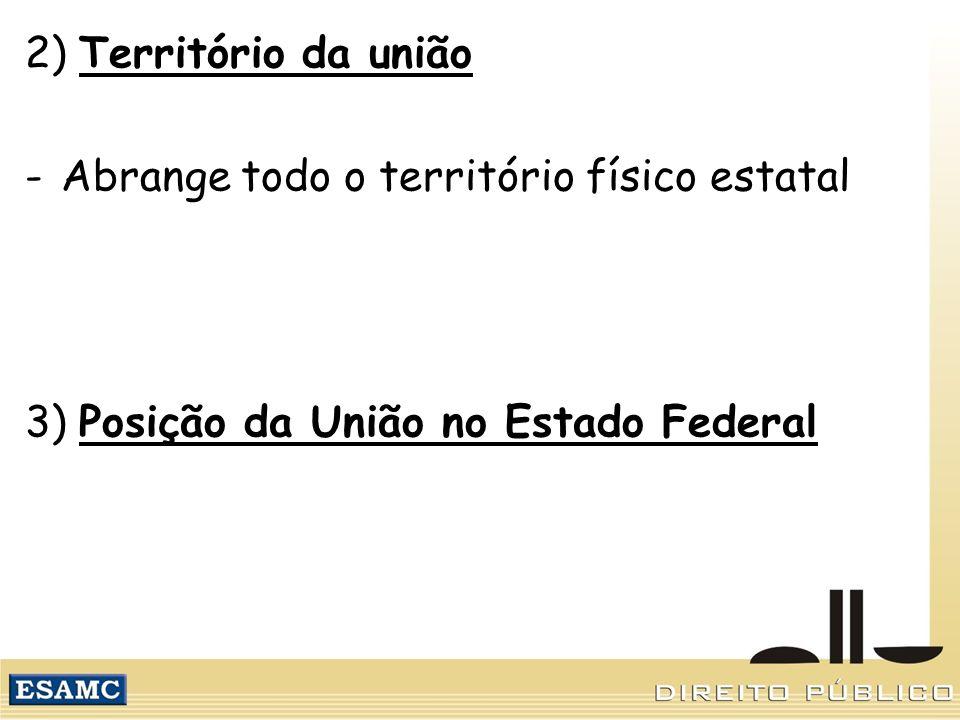 2) Território da união Abrange todo o território físico estatal.