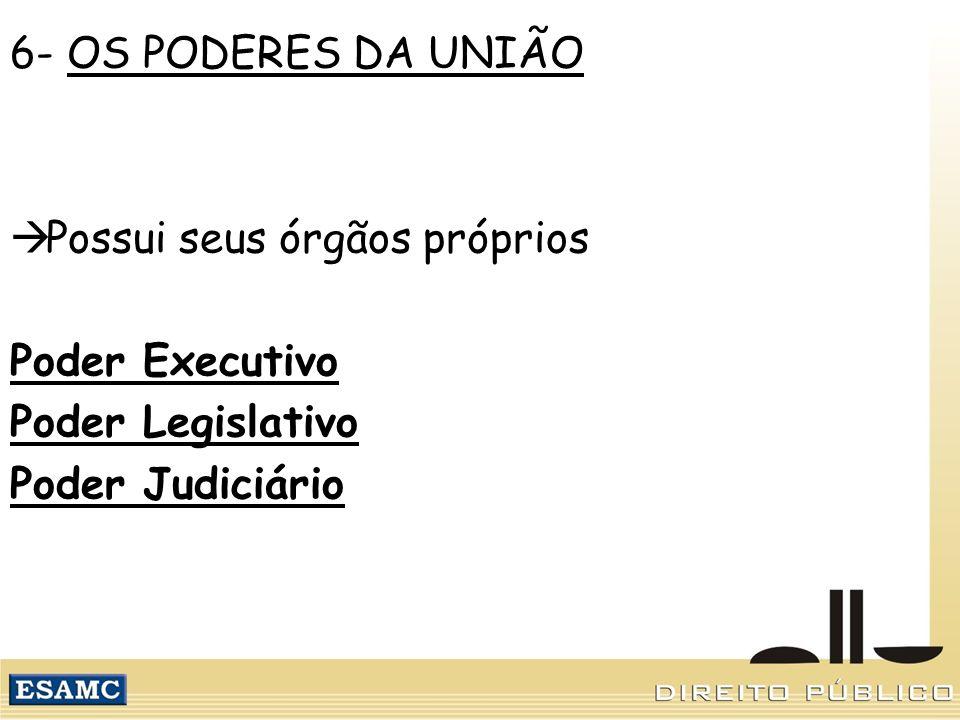 6- OS PODERES DA UNIÃO Possui seus órgãos próprios.