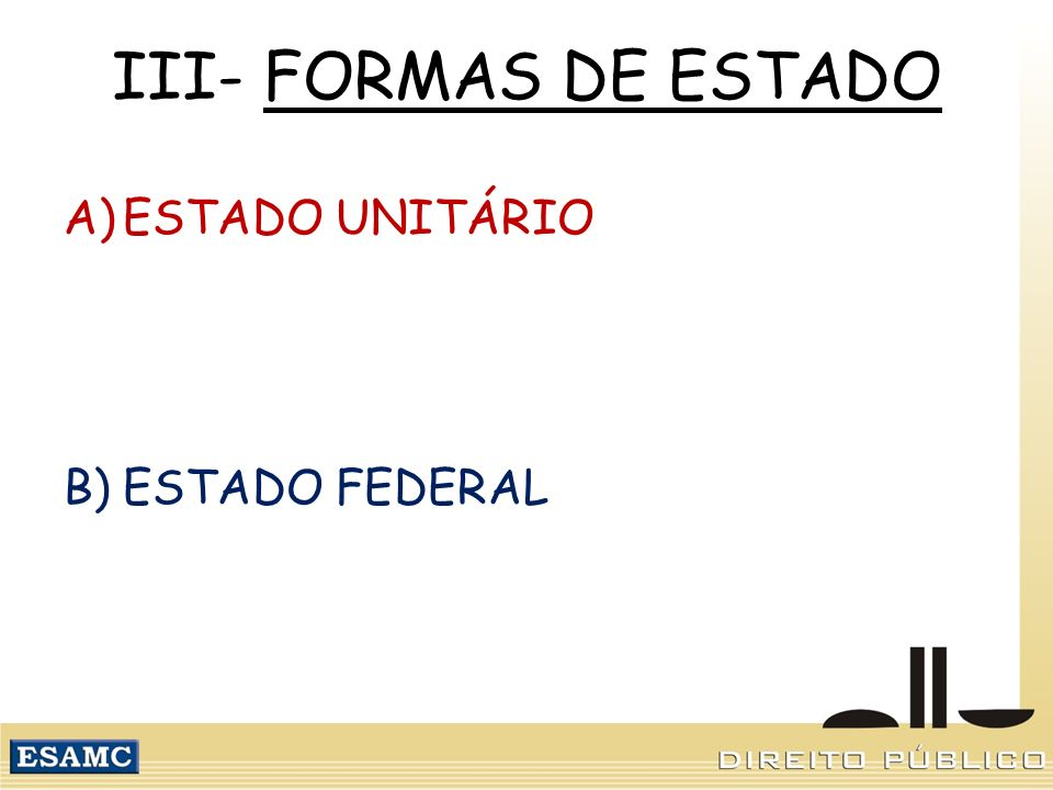 III- FORMAS DE ESTADO ESTADO UNITÁRIO ESTADO FEDERAL