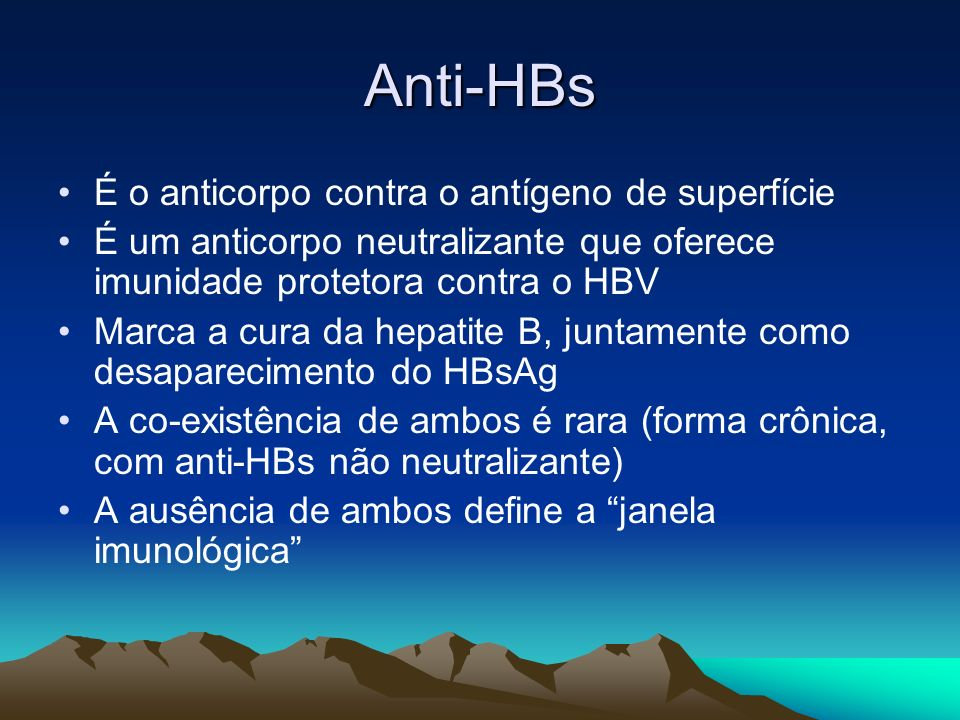 Anti-HBs É o anticorpo contra o antígeno de superfície