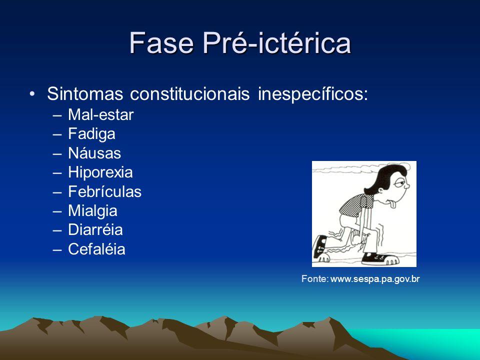 Fase Pré-ictérica Sintomas constitucionais inespecíficos: Mal-estar