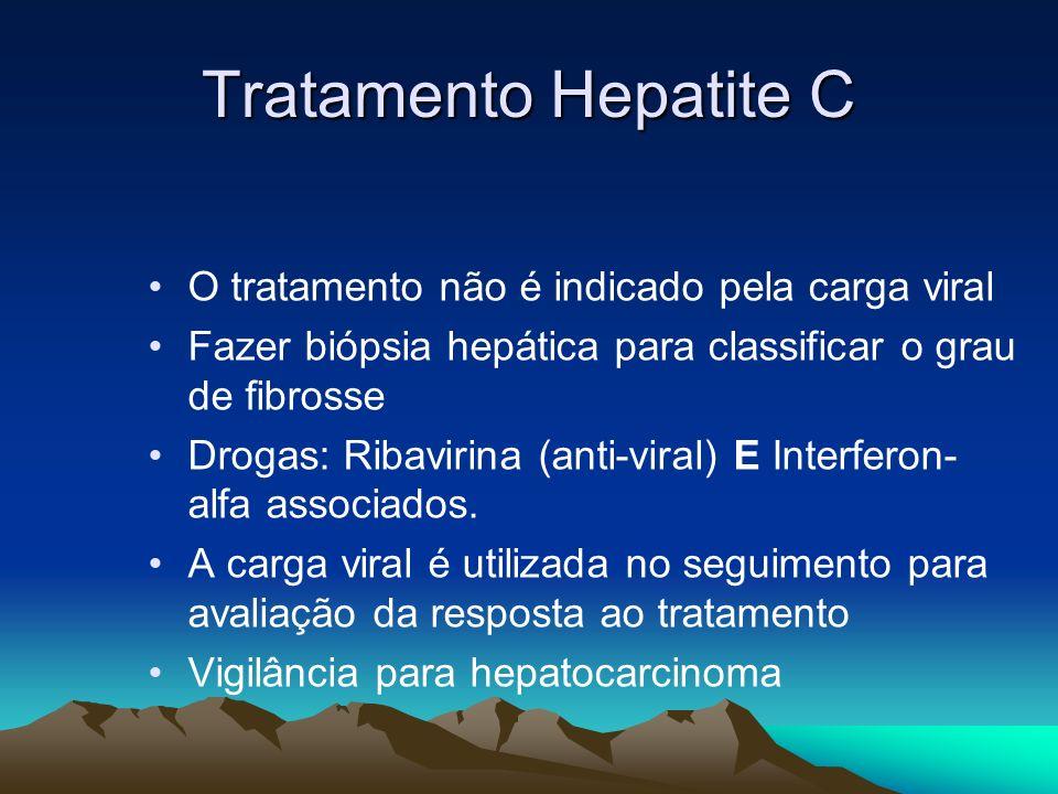 Tratamento Hepatite C O tratamento não é indicado pela carga viral