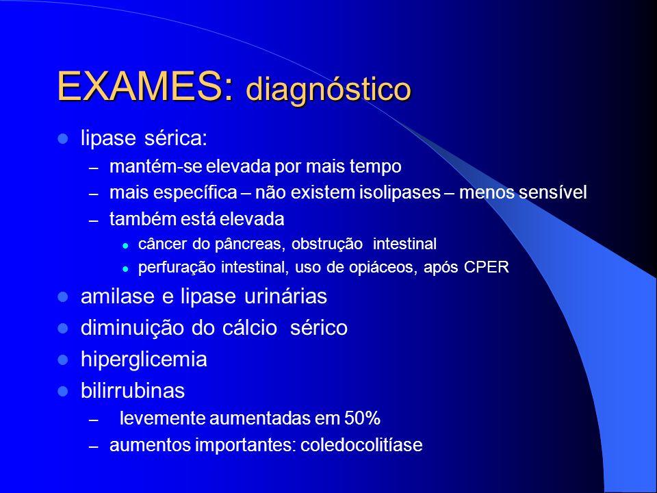 EXAMES: diagnóstico lipase sérica: amilase e lipase urinárias