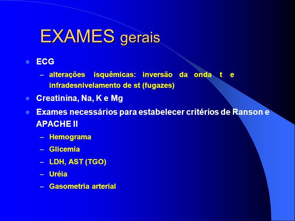 EXAMES gerais ECG Creatinina, Na, K e Mg