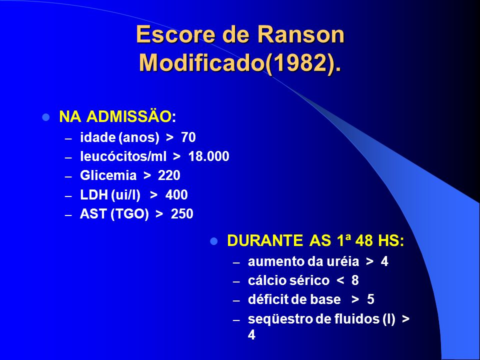 Escore de Ranson Modificado(1982).