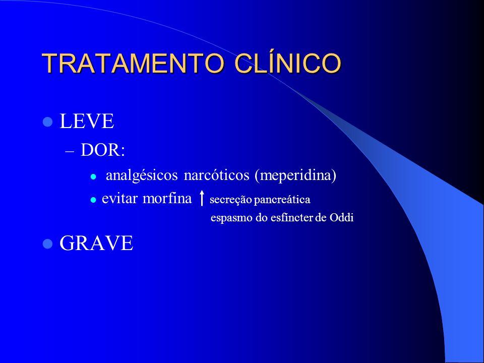 TRATAMENTO CLÍNICO LEVE GRAVE DOR: analgésicos narcóticos (meperidina)