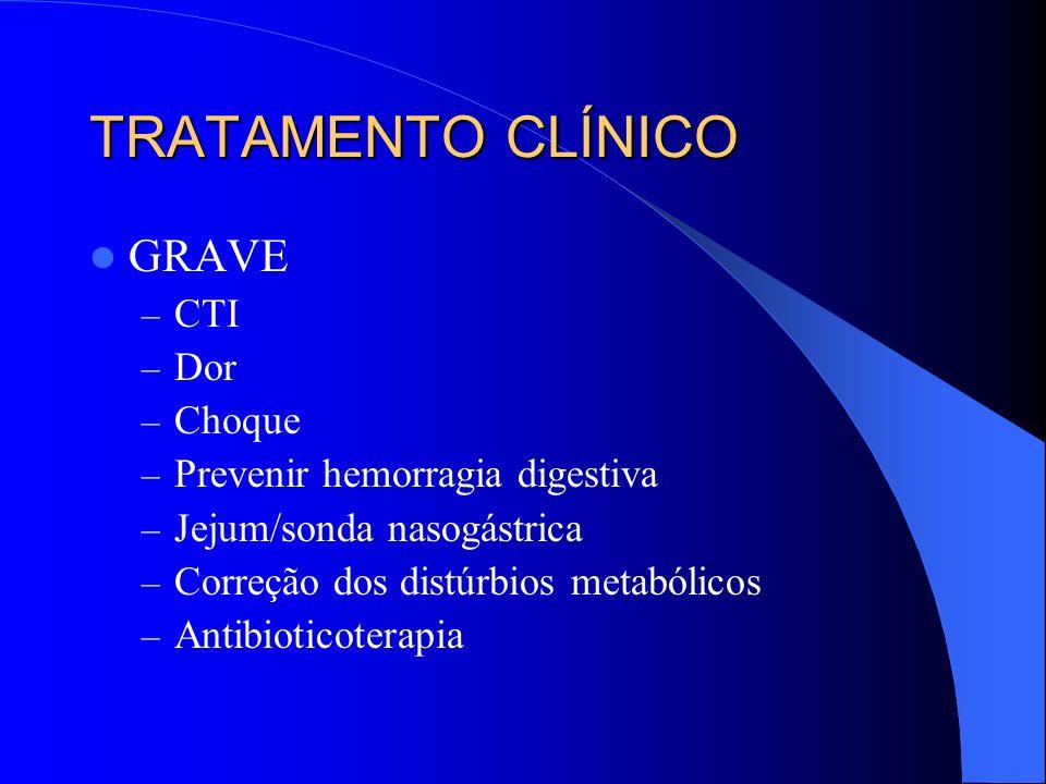 TRATAMENTO CLÍNICO GRAVE CTI Dor Choque Prevenir hemorragia digestiva