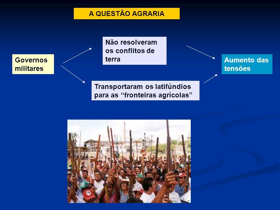 A QUESTÃO AGRARIA Não resolveram os conflitos de terra. Governos militares. Aumento das tensões.
