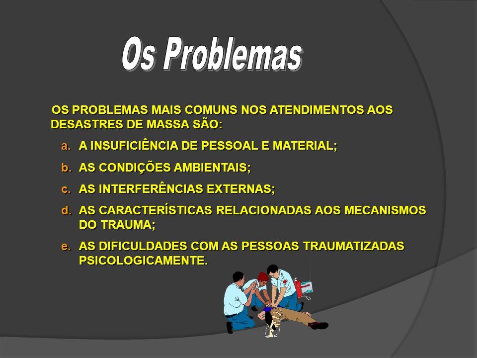 Os Problemas OS PROBLEMAS MAIS COMUNS NOS ATENDIMENTOS AOS DESASTRES DE MASSA SÃO: A INSUFICIÊNCIA DE PESSOAL E MATERIAL;