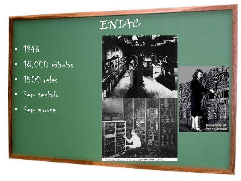 ENIAC 1946 18.000 válvulas 1500 reles Sem teclado Sem mouse