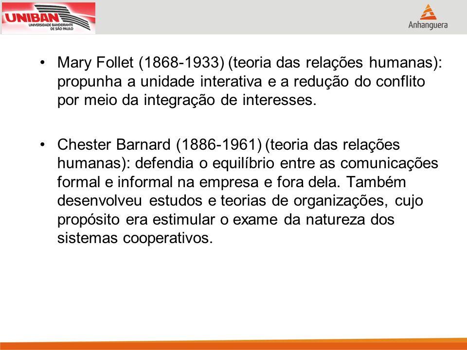 Mary Follet (1868-1933) (teoria das relações humanas): propunha a unidade interativa e a redução do conflito por meio da integração de interesses.