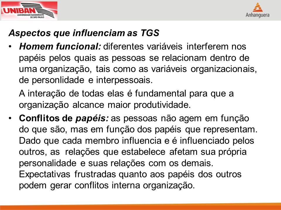 Aspectos que influenciam as TGS