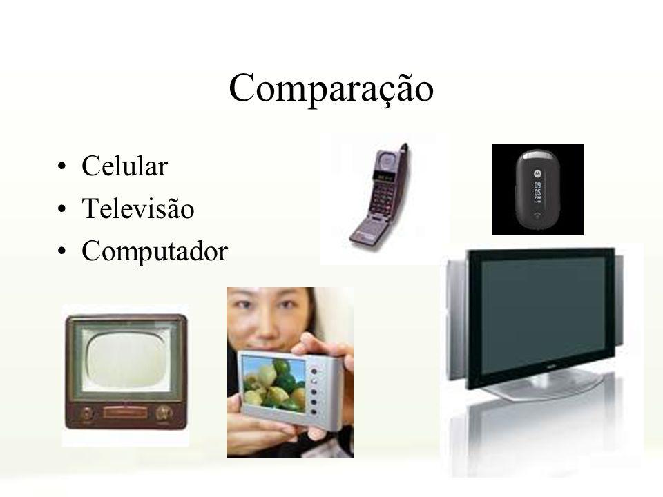 Comparação Celular Televisão Computador