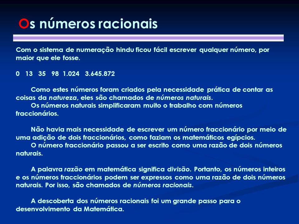 Os números racionais Com o sistema de numeração hindu ficou fácil escrever qualquer número, por maior que ele fosse.
