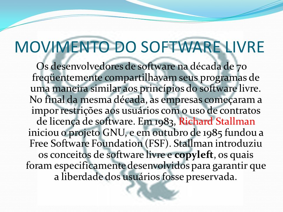 MOVIMENTO DO SOFTWARE LIVRE