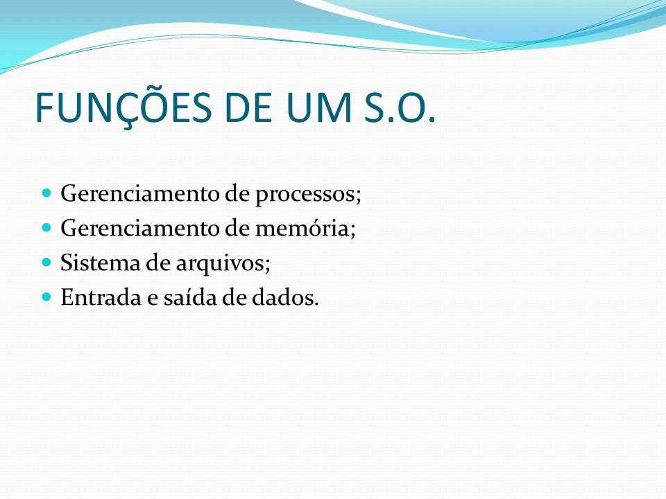 FUNÇÕES DE UM S.O. Gerenciamento de processos;