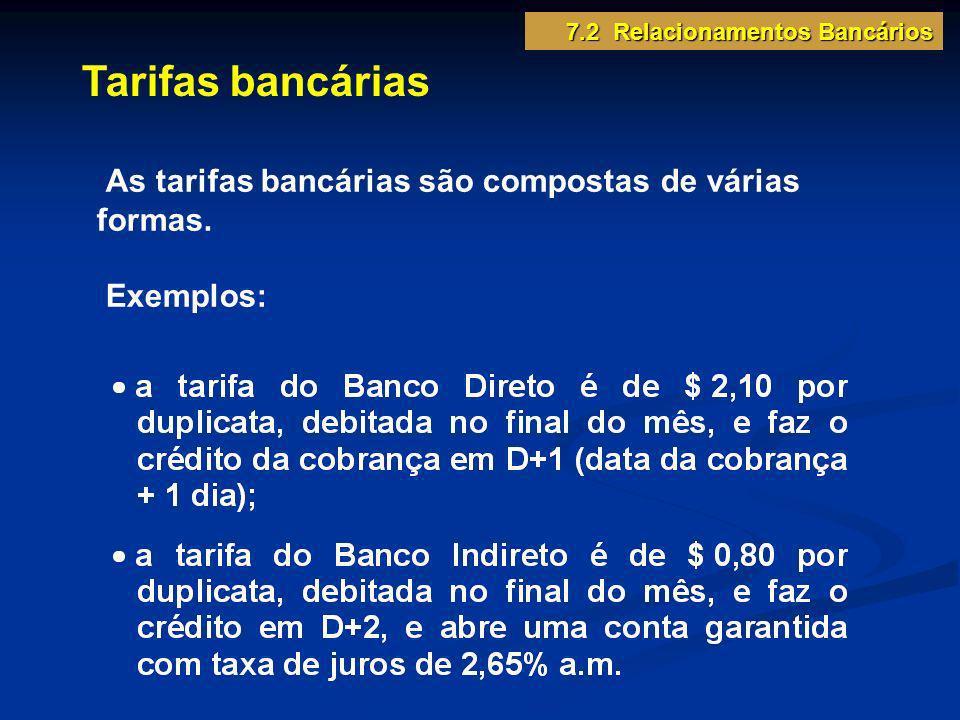 Tarifas bancárias As tarifas bancárias são compostas de várias formas.