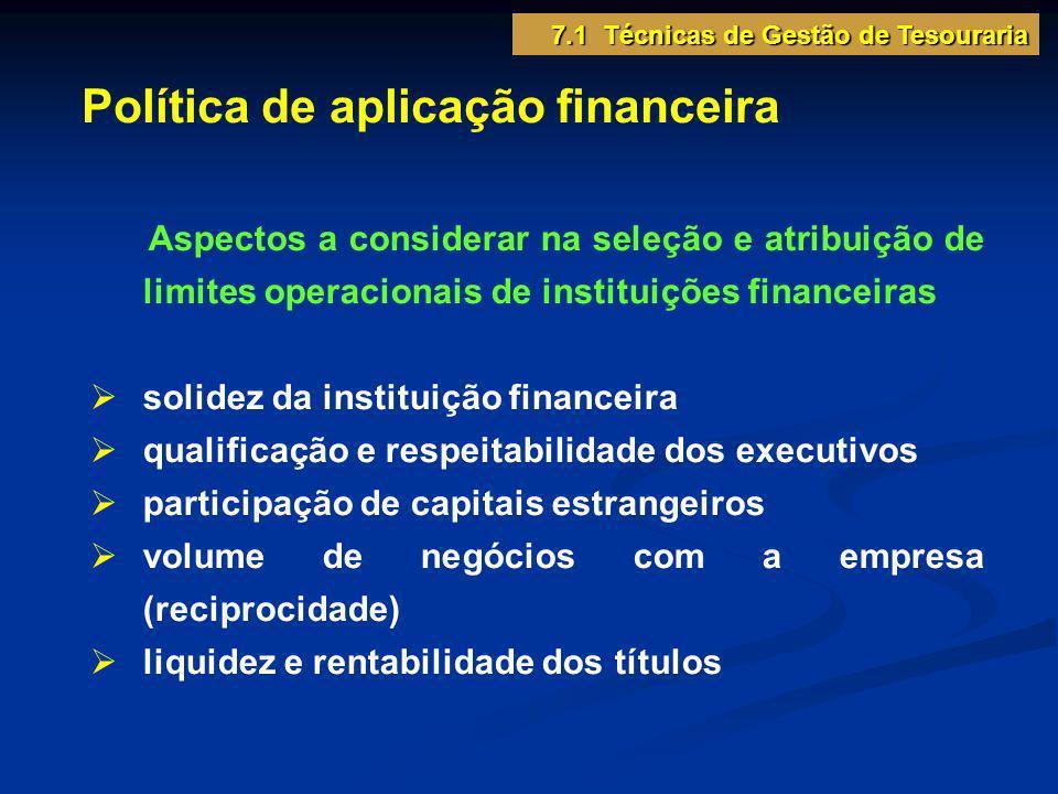 Política de aplicação financeira