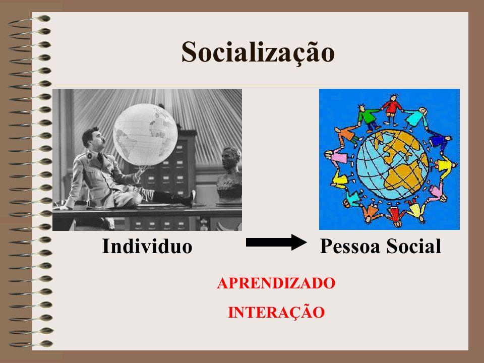 Socialização Individuo Pessoa Social APRENDIZADO INTERAÇÃO