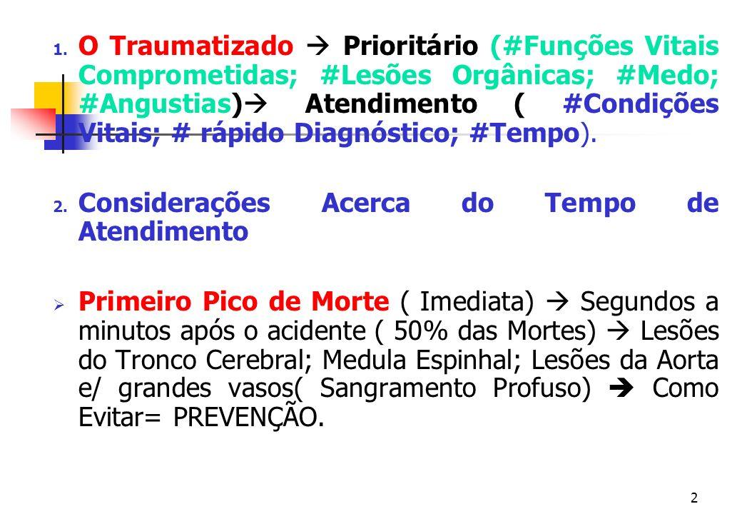 O Traumatizado  Prioritário (#Funções Vitais Comprometidas; #Lesões Orgânicas; #Medo; #Angustias) Atendimento ( #Condições Vitais; # rápido Diagnóstico; #Tempo).