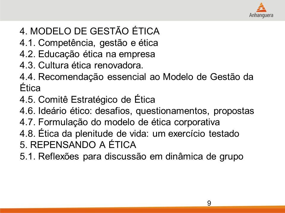 4. MODELO DE GESTÃO ÉTICA 4. 1. Competência, gestão e ética 4. 2
