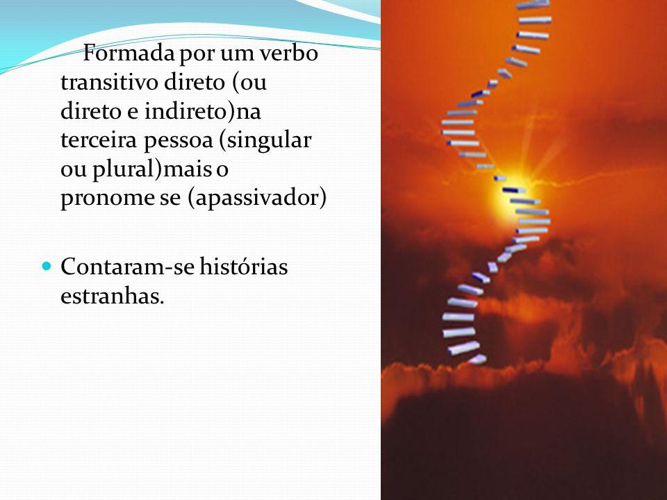 Formada por um verbo transitivo direto (ou direto e indireto)na terceira pessoa (singular ou plural)mais o pronome se (apassivador)