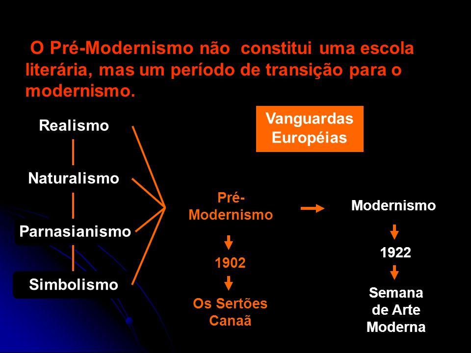 O Pré-Modernismo não constitui uma escola literária, mas um período de transição para o modernismo.