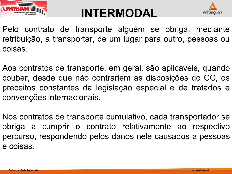 INTERMODAL Pelo contrato de transporte alguém se obriga, mediante retribuição, a transportar, de um lugar para outro, pessoas ou coisas.