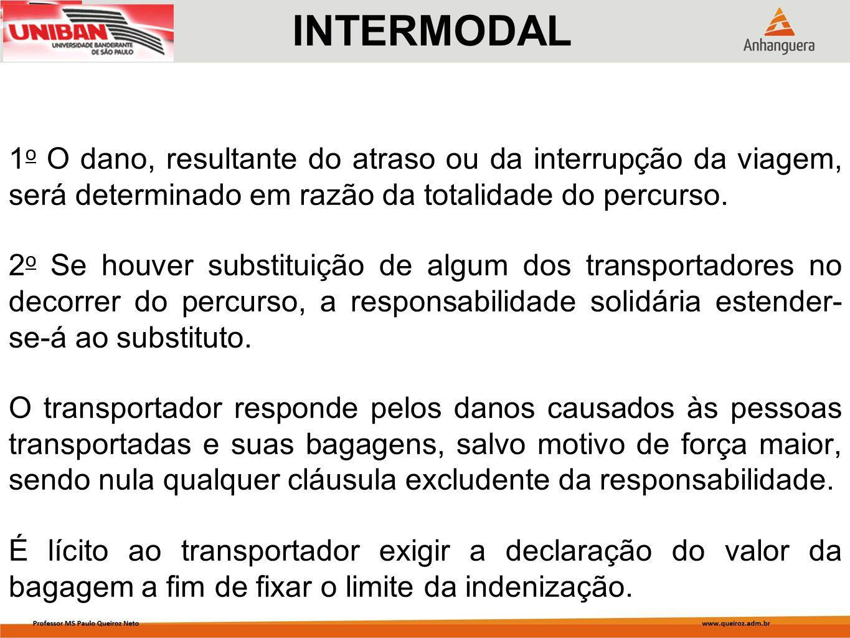 INTERMODAL 1o O dano, resultante do atraso ou da interrupção da viagem, será determinado em razão da totalidade do percurso.