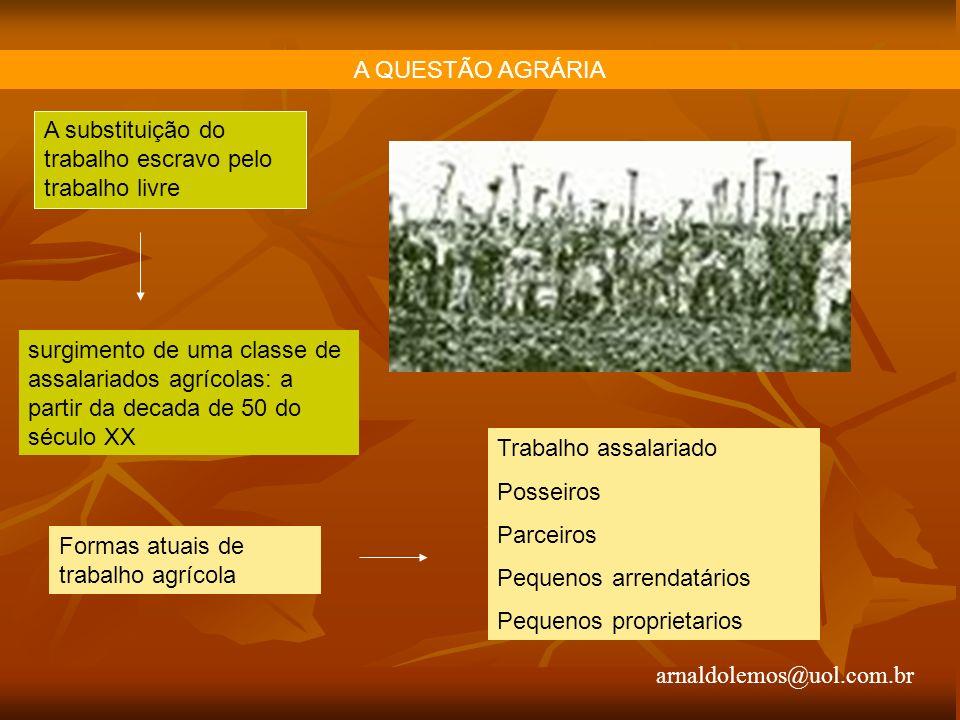 A QUESTÃO AGRÁRIA A substituição do trabalho escravo pelo trabalho livre.