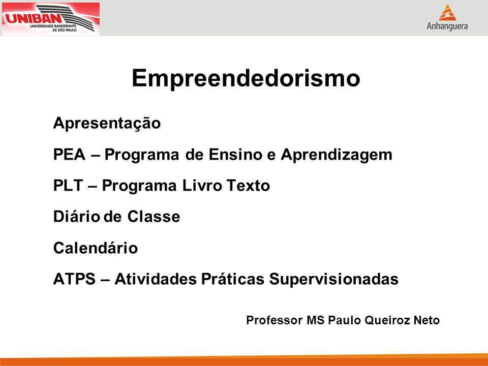 Empreendedorismo Apresentação PEA – Programa de Ensino e Aprendizagem