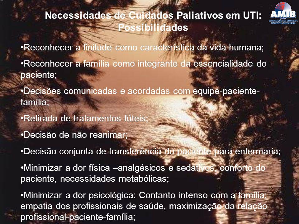 Necessidades de Cuidados Paliativos em UTI: Possibilidades
