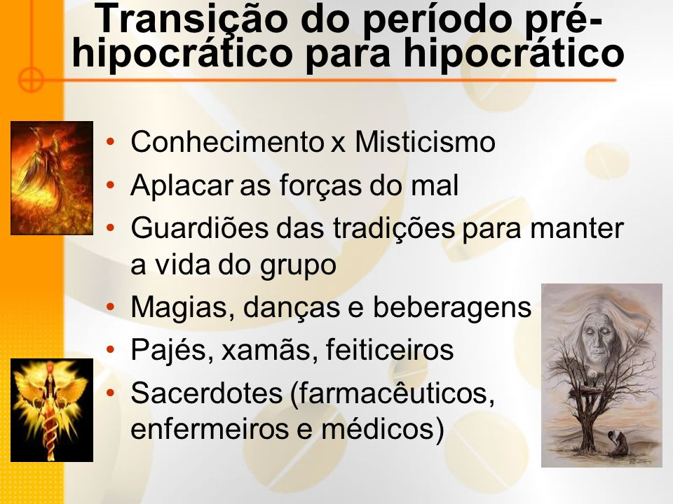 Transição do período pré-hipocrático para hipocrático