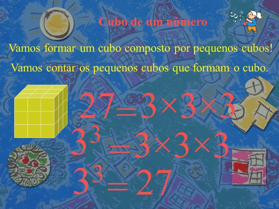 33 33 27 3×3×3 = 3×3×3 = 27 = Cubo de um número