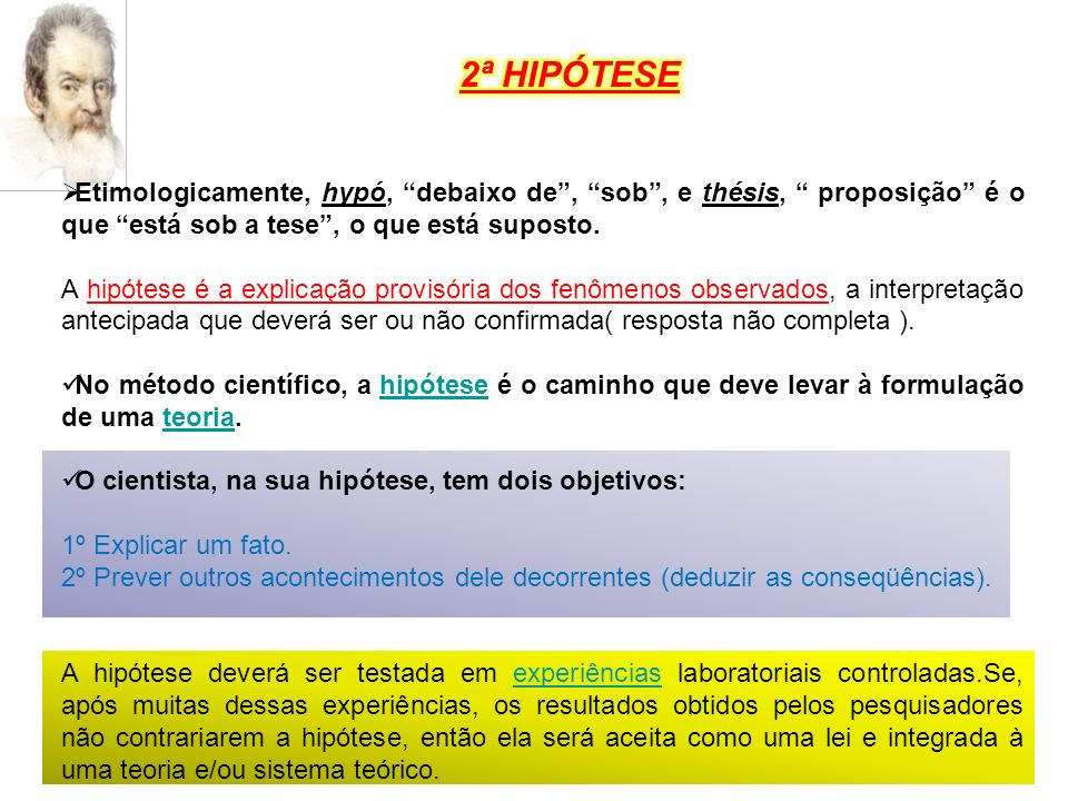 2ª HIPÓTESE Etimologicamente, hypó, debaixo de , sob , e thésis, proposição é o que está sob a tese , o que está suposto.