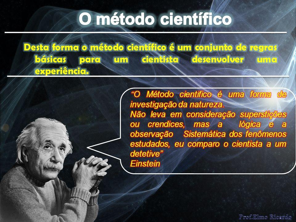O método científico Desta forma o método científico é um conjunto de regras básicas para um cientista desenvolver uma experiência.
