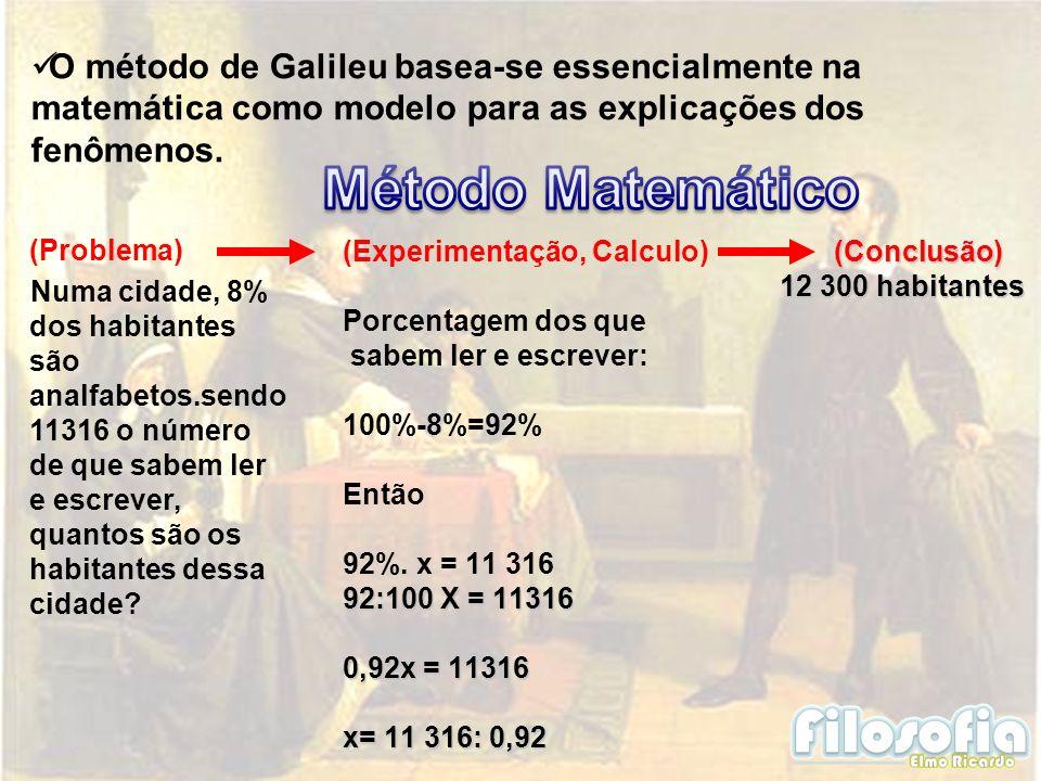 O método de Galileu basea-se essencialmente na matemática como modelo para as explicações dos fenômenos.