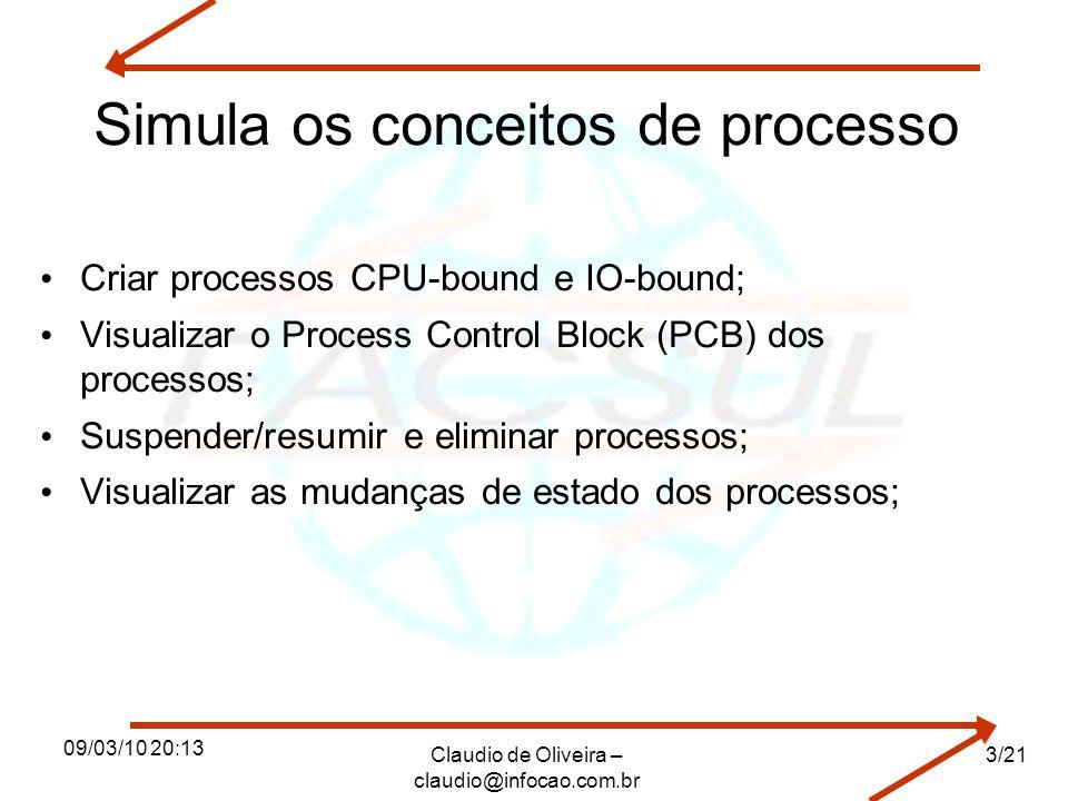 Simula os conceitos de processo