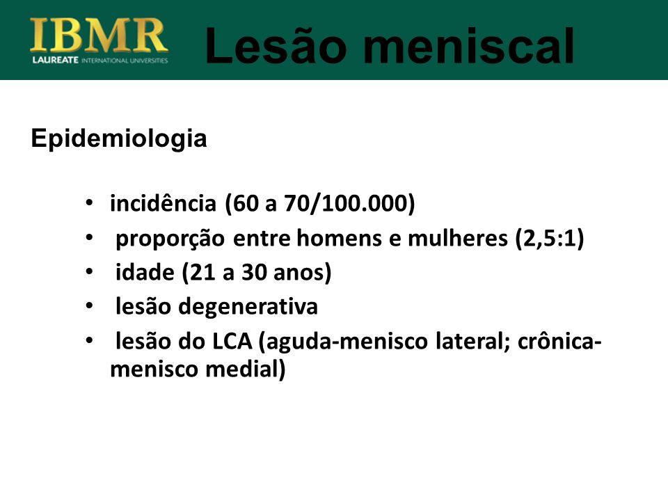 Lesão meniscal Epidemiologia incidência (60 a 70/100.000)