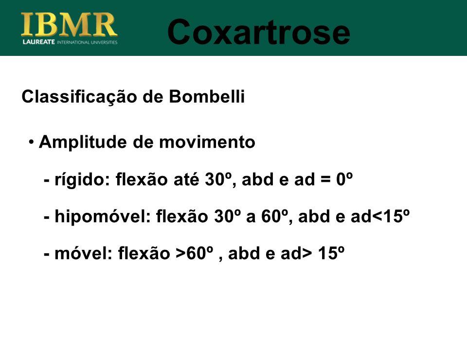 Coxartrose Classificação de Bombelli Amplitude de movimento